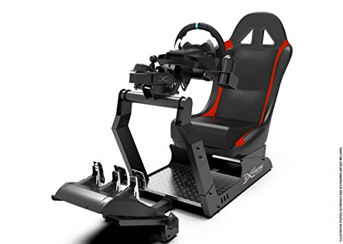 Extreme Simracing Wheel Stand Cockpit VIRTUAL EXPERIENCE Black/Red Racing Simulator For Logitech G25, G27, G29, G920, Thrustmaster And Fanatec - Controls are Not Included