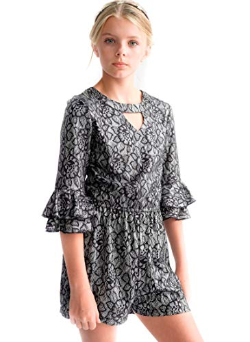 Smukke, Big Girls Tween Special Occasion Embellished Party Dressy Dress (Many Options), 7-16 (Black Silver Metallic, 10) -