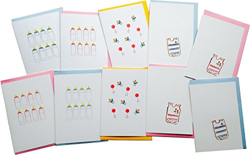 New Baby Greeting Cards (Multipack, pack of 10) from GayaCards, for Congratulations, Invitations and Baby Shower, Get these Beautiful Cards Now!