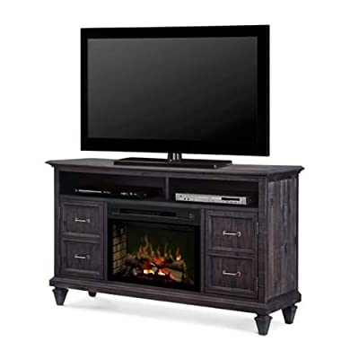Dimplex Solomon Electric Fireplace TV Stand with Logset in Gray