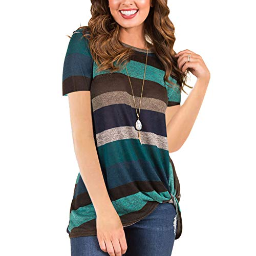 (HUHHRRY Short Sleeve Round Neck Triple Color Block Striped Knot Shirt Women Green Tee XL)
