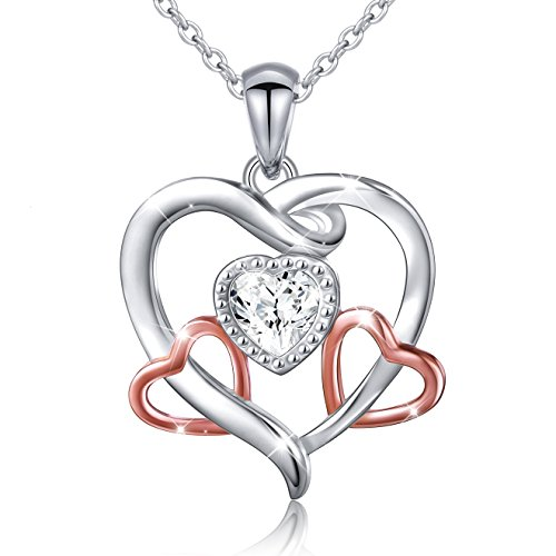 Two-Tone 925 Sterling Silver Cubic Zirconia 3 Heart Charm Necklace for Women Girls,18