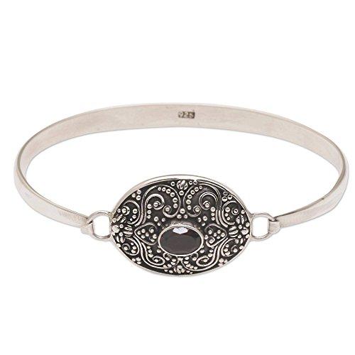 NOVICA Garnet .925 Sterling Silver Bangle Bracelet, 'Tender Love'