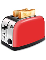 LATITOP Red 2-Slice Toaster Brushed Stainless Steel with Extra Wide Slot for Small &Large Bread Slices, Removable Crumb Tray, Led Indicator, Auto Shut-off, 7 Shade Setting, High Lift Lever (Red)