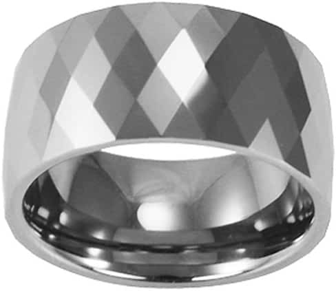 Tungsten 12mm Diamond-Shape Faceted Comfort Fit Domed Band Ring