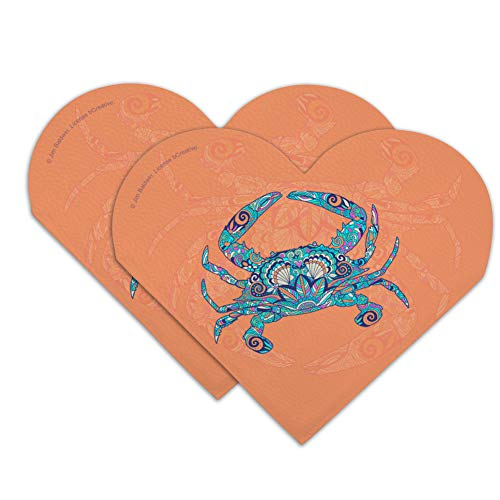 - Mosaic Crab Heart Faux Leather Bookmark - Set of 2