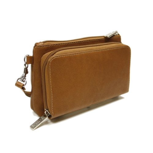 Piel Leather Shoulder Bag Wristlet, Saddle, One Size
