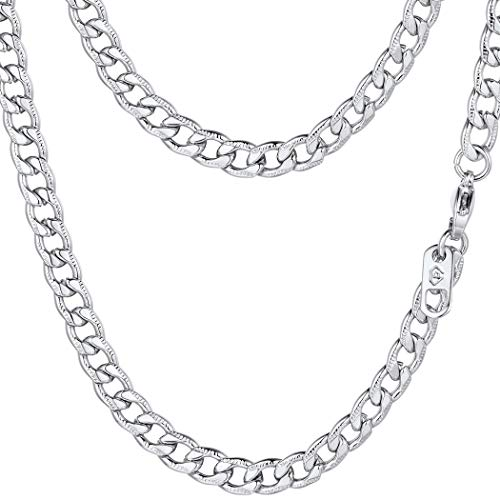 PROSTEEL Miami Cuban Link Necklace Stainless Steel 5mm Women Chain Necklace Men Jewelry Gift