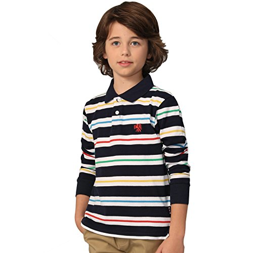 Leo&Lily Boys' Long Sleeves Striped Cardigan Rugby Polo Shirt Navy 10