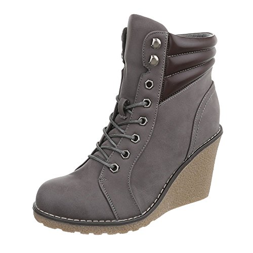 Women's Boots Wedge Heel Wedge Ankle Boots at Ital-Design Grey 0Ols57ORDE