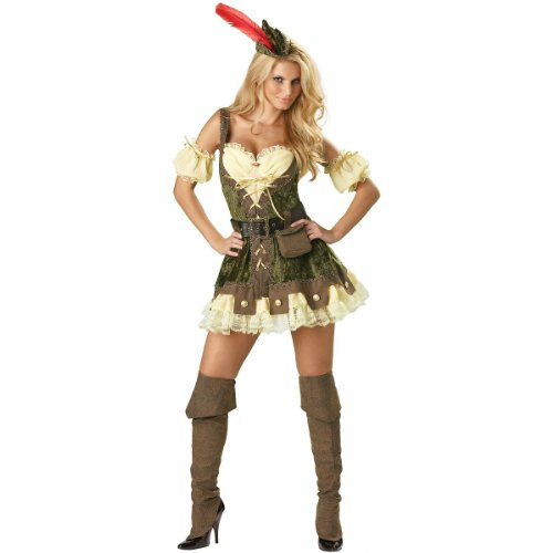 InCharacter Costumes, LLC Women's Racy Robin Hood Costume, Tan/Green,