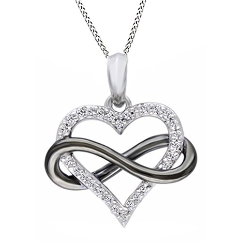 - Jewel Zone US Natural Diamond Sideways Infinity Heart Pendant Necklace in Two-Tone Sterling Silver (1/10 Ct)