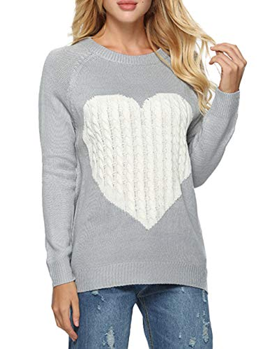 Women's Casual Pullover Sweater Crew Neck Long Sleeve Heart Pattern Patchwork Knits Sweater Jumper Sweater Tops