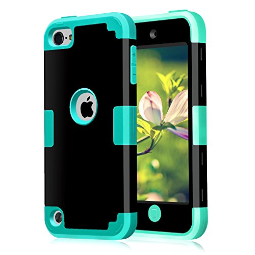 5 6 Case, CheerShare Layered 3 in 1 Hard PC Case + Silicone Shockproof Heavy Duty High Impact Armor Case Cover Protective Case for Apple iPod Touch 5 6th Generation (Black+Blue) ()