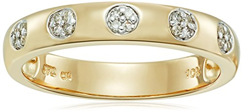 Stone Cluster Ring (10k Yellow Gold Five Circle Cluster Diamond Ring (1/10cttw, I-J Color, I2-I3 Clarity), Size 7)
