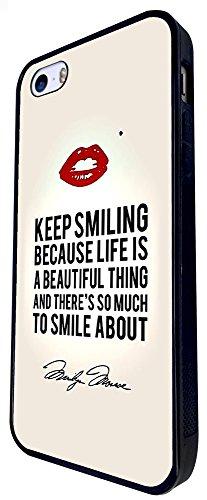 710 - Monroe Quote Keep Smiling Design iphone SE - 2016 Coque Fashion Trend Case Coque Protection Cover plastique et métal - Noir