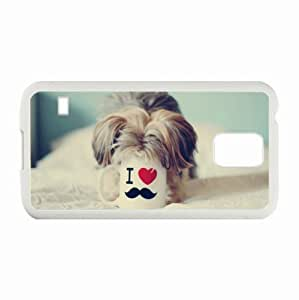 Customized Samsung Galaxy S5 i9600 Hard Shell Cover Case Diy Personalized Designdog cup mustache heart drinks White