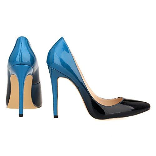 Zhuhaixmy Frau Gradient Farbe Party Club High Heels Shoes Stilettos Spitz Pumpen Schuhe Blue