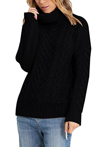 Women's 100% Cotton Turtleneck Aran Ribbed Cable Knit Pullover Sweater Black (Ribbed Knit Turtleneck Sweater)
