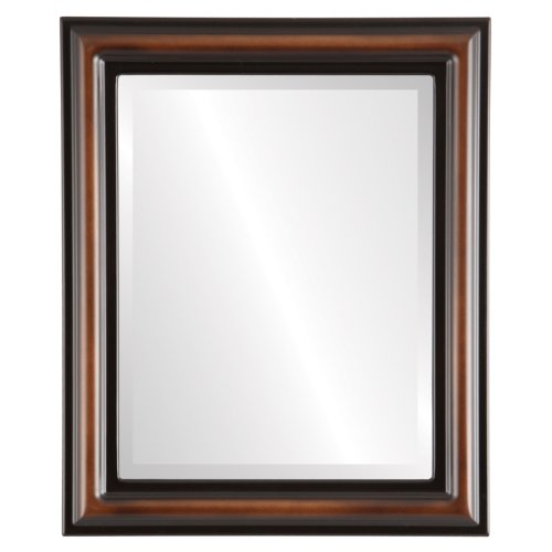 Rectangle Beveled Wall Mirror for Home Decor - Philadelphia Style - Walnut - 28x34 outside dimensions