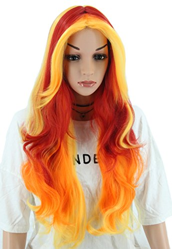 Topcosplay Womens Wigs Long Wave Devil Fire Wig Ombre Colorful Wigs Halloween Costume Cosplay Party Wig Red Orange -
