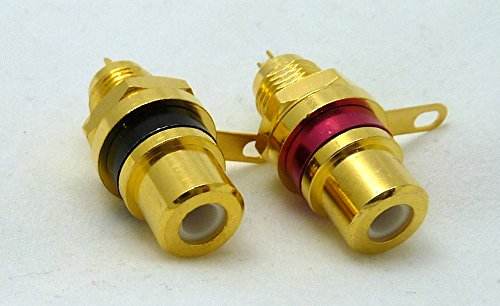 2 Philmore Gold-Plated RCA Panel Mount Jacks with Teflon Insulator, Red & Black