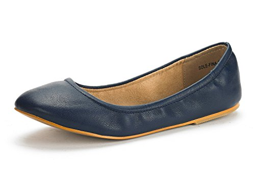 DREAM PAIRS SOLE-FINA Women's Casual Solid Plain Ballet Comfort Soft Slip On Flats Shoes New NAVY SIZE 7.5