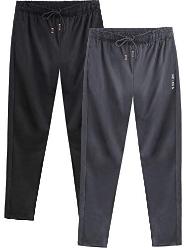Pants Athletic Workout - Neleus Men's 2 Pack Athletic Workout Running Pants,7006,Black,Grey,L,EU XL