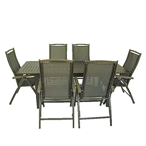 Conjunto jardín mesa extensible y seis sillones reclinables ...
