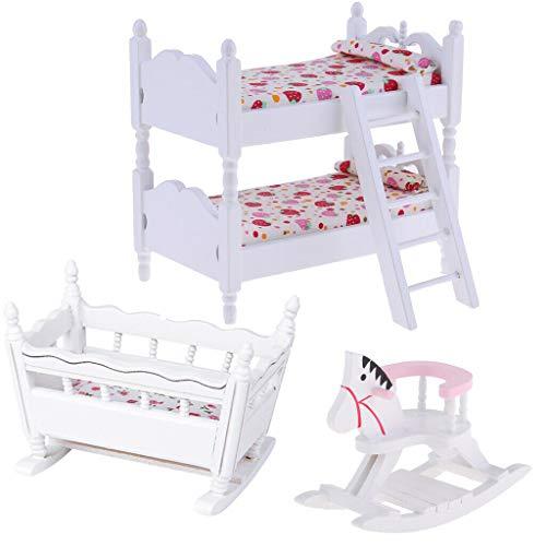 NATFUR 1/12 Dollhouse Furniture Children Bedroom Wood Bunk Bed Cradle Rocking Horse