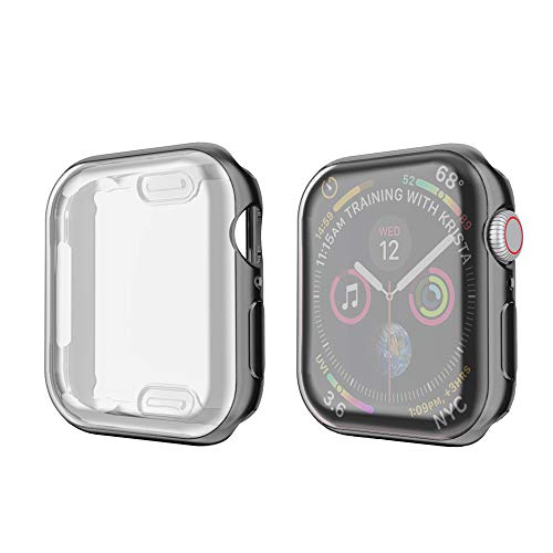 amBand Compatible for Apple Watch Series 4 Screen Protector 40mm, Full Cover TPU Case Bumper Compatible for iWatch Series 4 Black