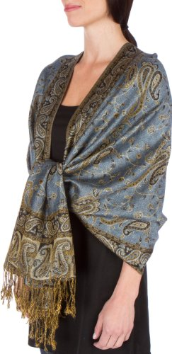 Sakkas Double Layer Jacquard Paisley Pashmina Shawl/Wrap/Stole - Steel - Wrap Jacquard