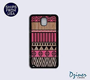Galaxy Note 3 Case - Aztec Pink on Wood (NOT REAL WOOD)