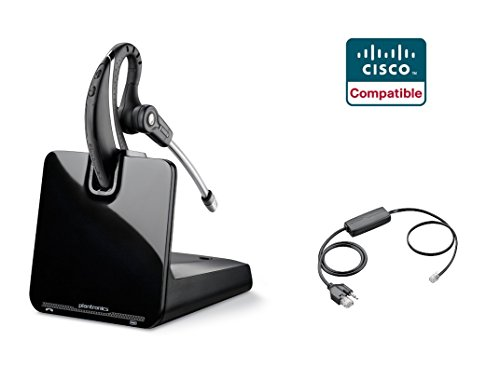 Cisco Compatible Plantronics CS530 VoIP Wireless Headset Bundle with Electronic Remote Answer|End and Ring Alert (EHS) for 6945 7821 7841 7861 7942G 7945 7945G 7962G 7965G 7975 7975G