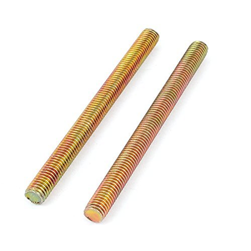1.25mm Pas M8 x 100mm filet/é m/âle Rod Bar Bronze Tone 2 Pcs