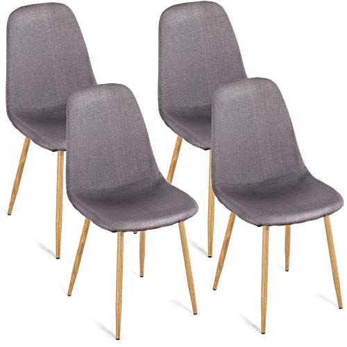 Homury Dining Side Chairs Set of 4 Fabric Cushion Seat Back Solid Metal Legs Home Dining Room Chairs Dining Set for 4,Grey