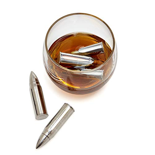 Whiskey Bullets Silver Ice Cold - Bullet Shaped Stainless Steel Whisky Glass Cube - 6 Scotch/Bourbon/Cocktail Bar Set Accessories - Reusable Chiller Ammo Stones - Fathers/Men/Military by - Silver Whiskey