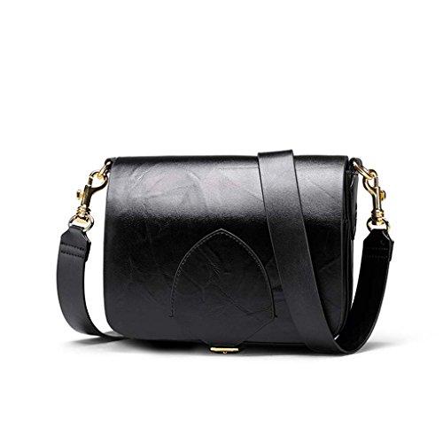 sac seule à épaule Messenger Vintage rabat femme en Noir à rétro main cuir Bas fourre tout sac bandoulière Boucle à PwZx7qf6