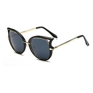 Women's Fashion Flash Mirror Vintage Cat Eye Sunglasses ( Black Frame/Grey Lens, 52)
