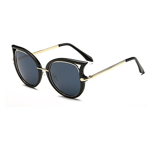 Women's Fashion Flash Mirror Vintage Cat Eye Sunglasses ( Black Frame/Grey Lens, 52)