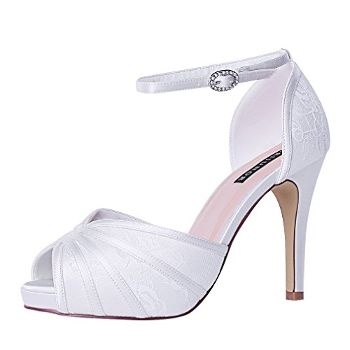 Pleated Platform High Heel - ERIJUNOR E1773 Womens High Heel Sandals Ankle Strap Lace Prom Bridal Wedding Shoes Ivory Size 8