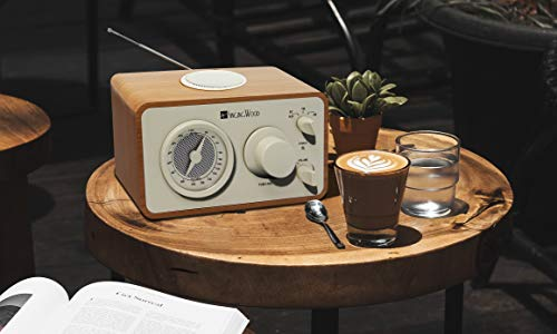 SINGING WOOD Retro Wood AM FM Radio with Bluetooth and Aux-in Jack Beech Wood Color