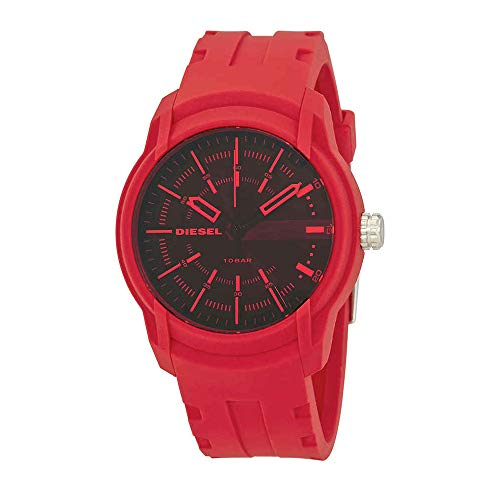 Diesel Watch Chronograph (Diesel Men's Armbar Silicone Casual Watch, Color: Red (Model: DZ1820))