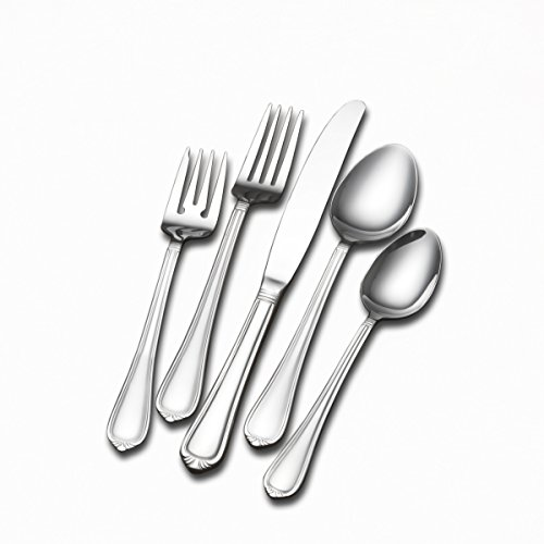 - International Silver 5201096 Nouveau 102-Piece Stainless Steel Flatware Set with Serving Utensil Set, Service for 12