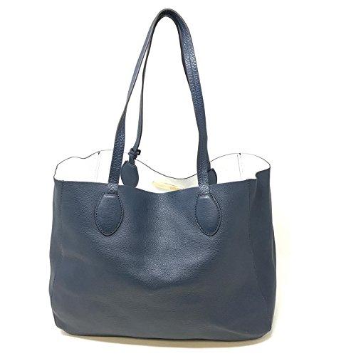 9245187f235e MICHAEL Michael Kors Womens Mae Leather Reversible Tote Handbag Navy Large