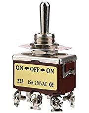 Interruptor de palanca, ON-OFF-ON Interruptor de palanca momentáneo de 3 posiciones 6 pines 12 mm 15A 250VAC