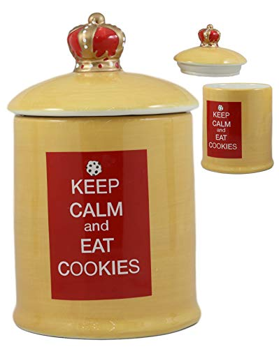 Ebros A Royal Treat Keep Calm And Eat Cookies Ceramic Cookie Jar With Air Tight Lid 8.5