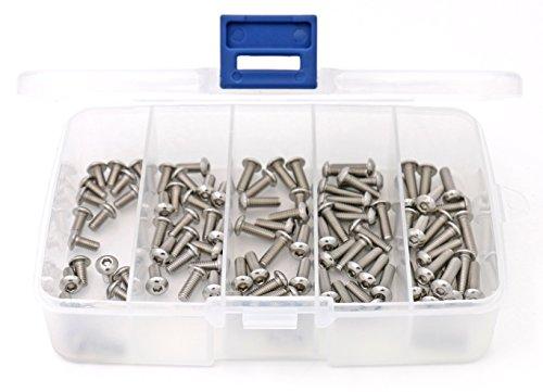 iExcell 100 Pcs 5 Size Assortment M4 x 8mm/10mm/12mm/14mm/16mm Hex Socket Drive Button Head Screws Kit, Stainless Steel 304, Silver Tone