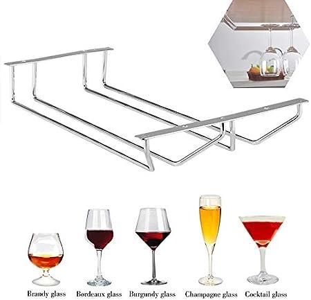 Soporte de Copa Vino Antideslizante Soporte para Copa de Vino Tinto Cromado Soporte Copa de Champán Estable Estante de Exhibición de Copa Vino Secado al Aire para Kitchen Bar Restaurant (Doble Fila)