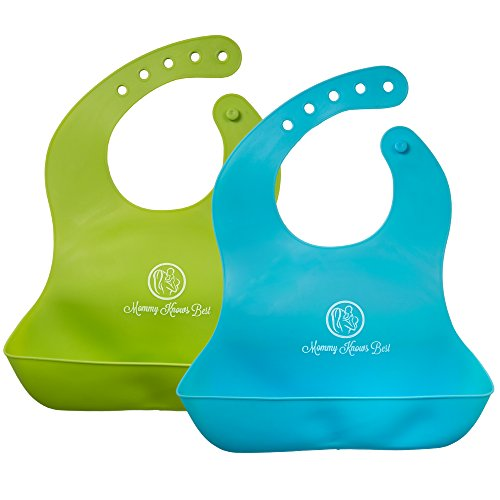 Price comparison product image Mommy Knows Best Waterproof Comfortable Soft Baby Bib with Large Pockets,  Easily Wipes Clean Silicone Feeding Bibs for Toddlers,  Set of Two (Blue and Green)